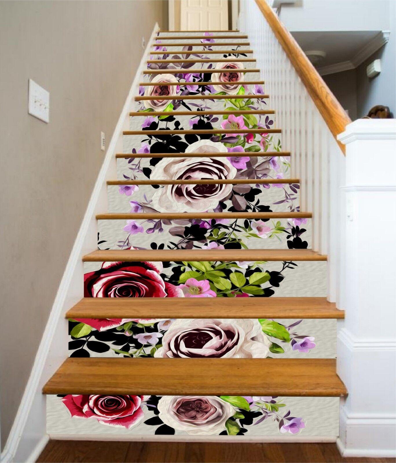 3D Fleurs contremarches Décoration Photo Murale Autocollant Vinyle Papier Peint UK