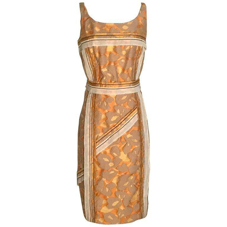 Nuevo con etiquetas Prada Amarillo Naranja Impresión Abstracta Jacquard  Vestido Con Ribete 44 8  80% de descuento