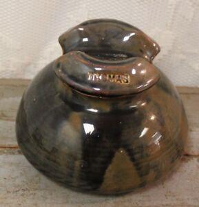 Details about * Antique THOMAS Brown Porcelain Ceramic Power Line Insulator