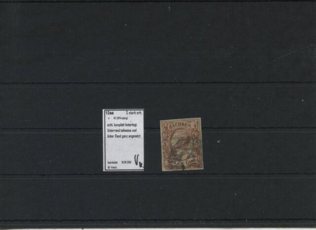 Old Germany Saxony 1863 Mi.12aa Tested Anges. Edges Postmarked N2 Leipzig