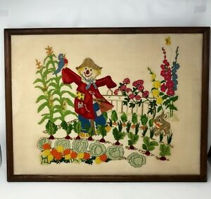 Vintage-Wool-Crewel-Embroidery-Scarecrow-Flower-Garden-Finished-Framed-26-x-20