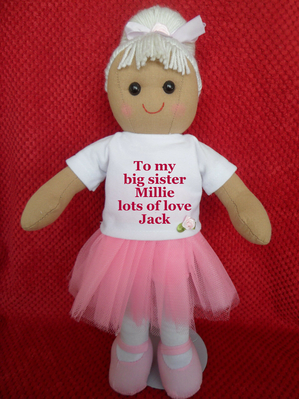 PERSONALISED RAG DOLL NEW BABY TO BIG   LITTLE SISTER BALLERINA BIRTHDAY GIFT 11
