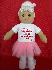 Image Is Loading PERSONALISED RAG DOLL NEW BABY TO BIG LITTLE
