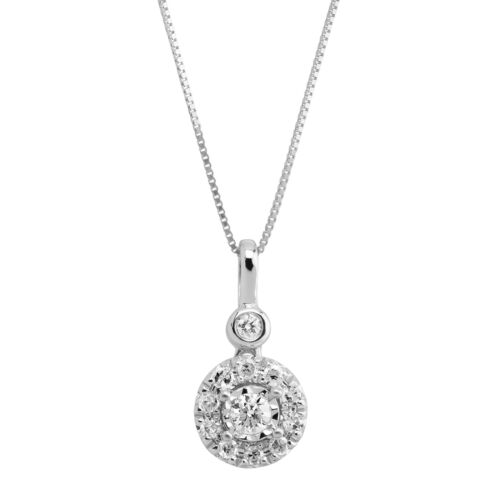 """18/"""" Details about  /1//4 ct Diamond Halo Pendant in 10K White Gold"""