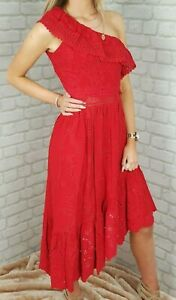 NEW-WITH-TAGS-The-Kooples-Beautiful-Red-Embroidered-Asymmetrical-Dress-RRP-278