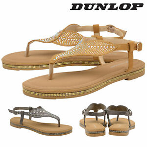 Dunlop-Ladies-Womens-Slip-On-Toe-Post-Sandals-Summer-Shoes-Memory-Foam-Sizes-3-8