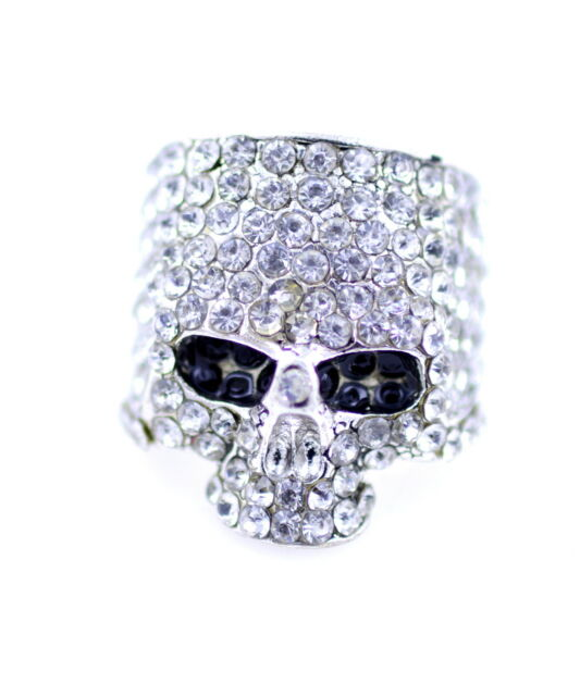 Goth punk biker style chunky silver tone skull ring with crystal UK Size N