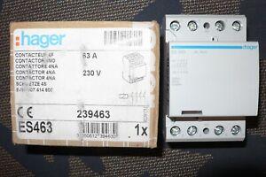 CONTACTEUR 4 POLES 63A HAGER ES463, 63 AMPERES Bobine 220V 4 contact à fermeture