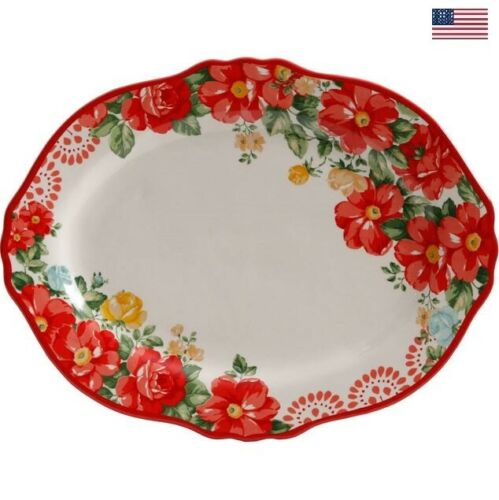 Serving Platter The Pioneer Woman Vintage Floral 14.5-Inch Oval Stoneware Decor
