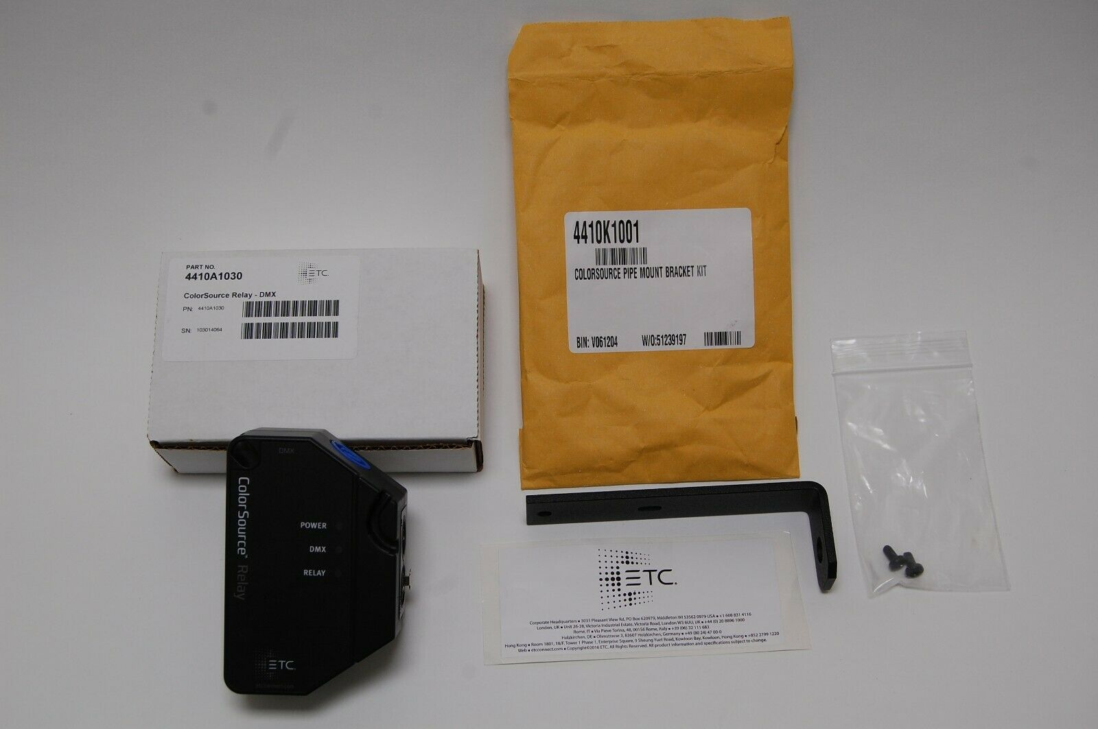 ETC FarbeSource Relais - DMX - 4410A1030, New w Garantie, Sold W  Pipe Bracket
