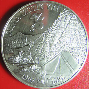 1982-1983-TURKEY-BOYSCOUTS-3000-LIRA-SILVER-PROOF-034-LONDON-TOWER-034-BOY-SCOUT-c-1