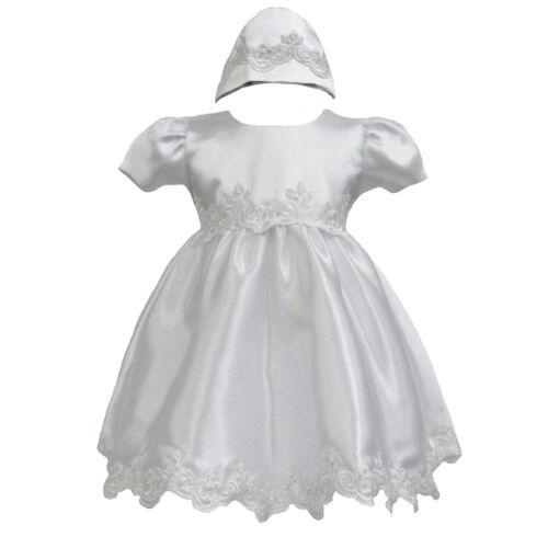 2pc Baby Girl Christening Baptism Church Formal Dress Gown Bonnet 0M-30 M white