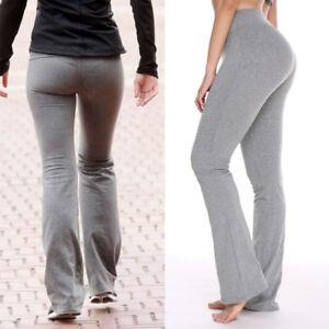 c6220cabd0 USA Womens Flare Wide Leggings Yoga Pants Cotton Stretch Full Length ...