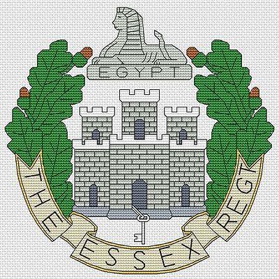 "8x8/"", 20x20cm, kit or chart Duke of Lancaster/'s Regiment Cross Stitch Design"