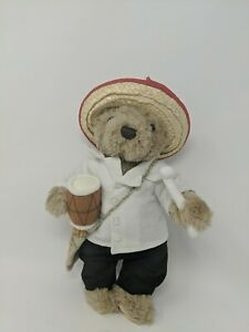 HardRock-Cafe-Rare-Panama-Plush-12-Teddy-Bear-With-Straw-Hat-And-Drum