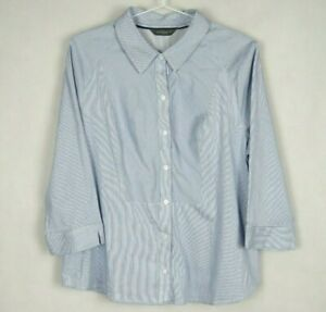Jacqui-E-Womens-Shirt-Size-18-Striped-Button-Front-Top