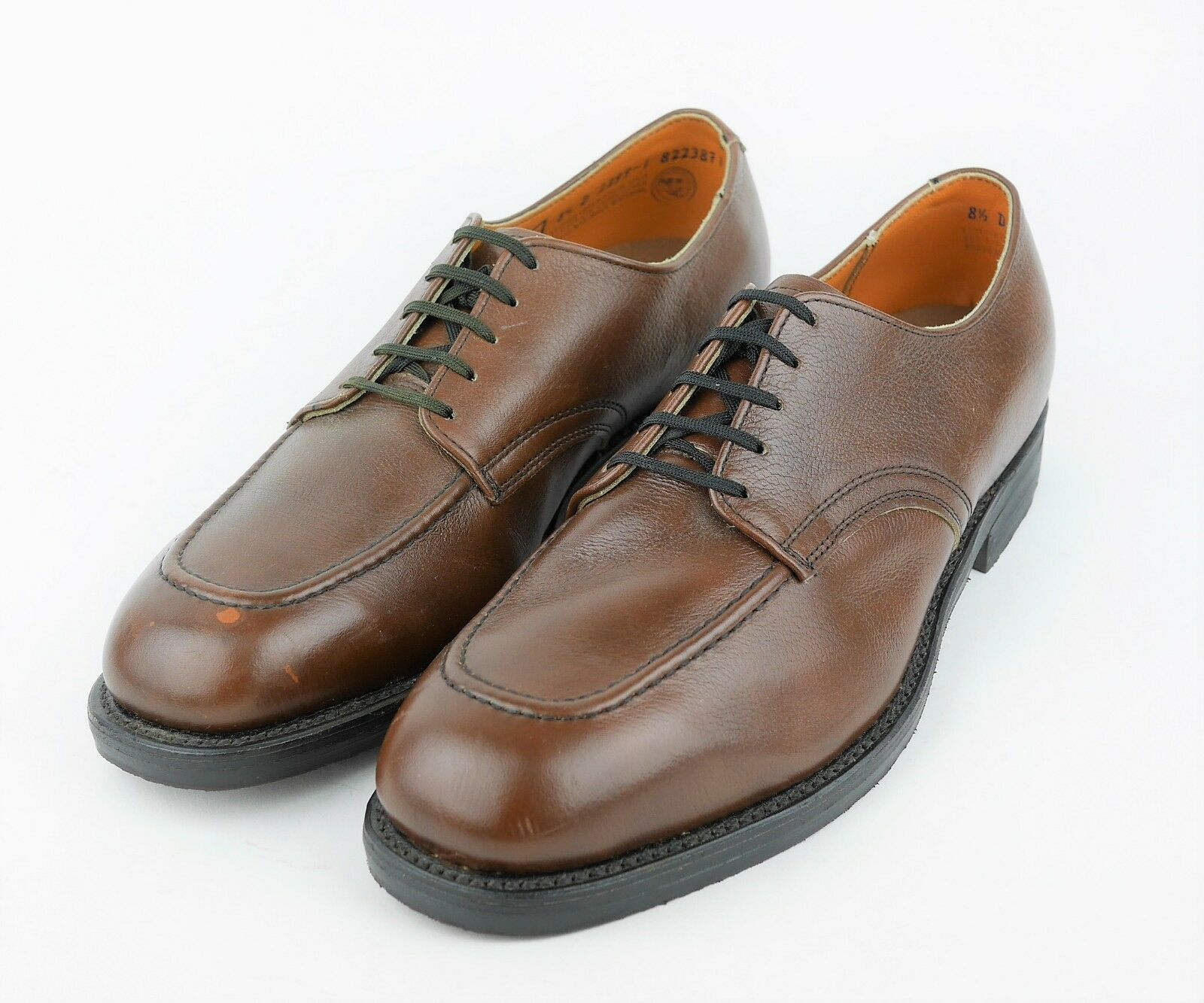 RED WING Men's 8.5 - BROWN PEBBLED LEATHER OXFORDS STEEL TOE LACE UP WORK SHOES