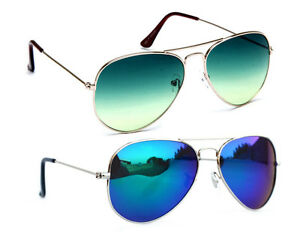 Combo of Sunglasses With Green Aviator and Blue Mirror Aviator