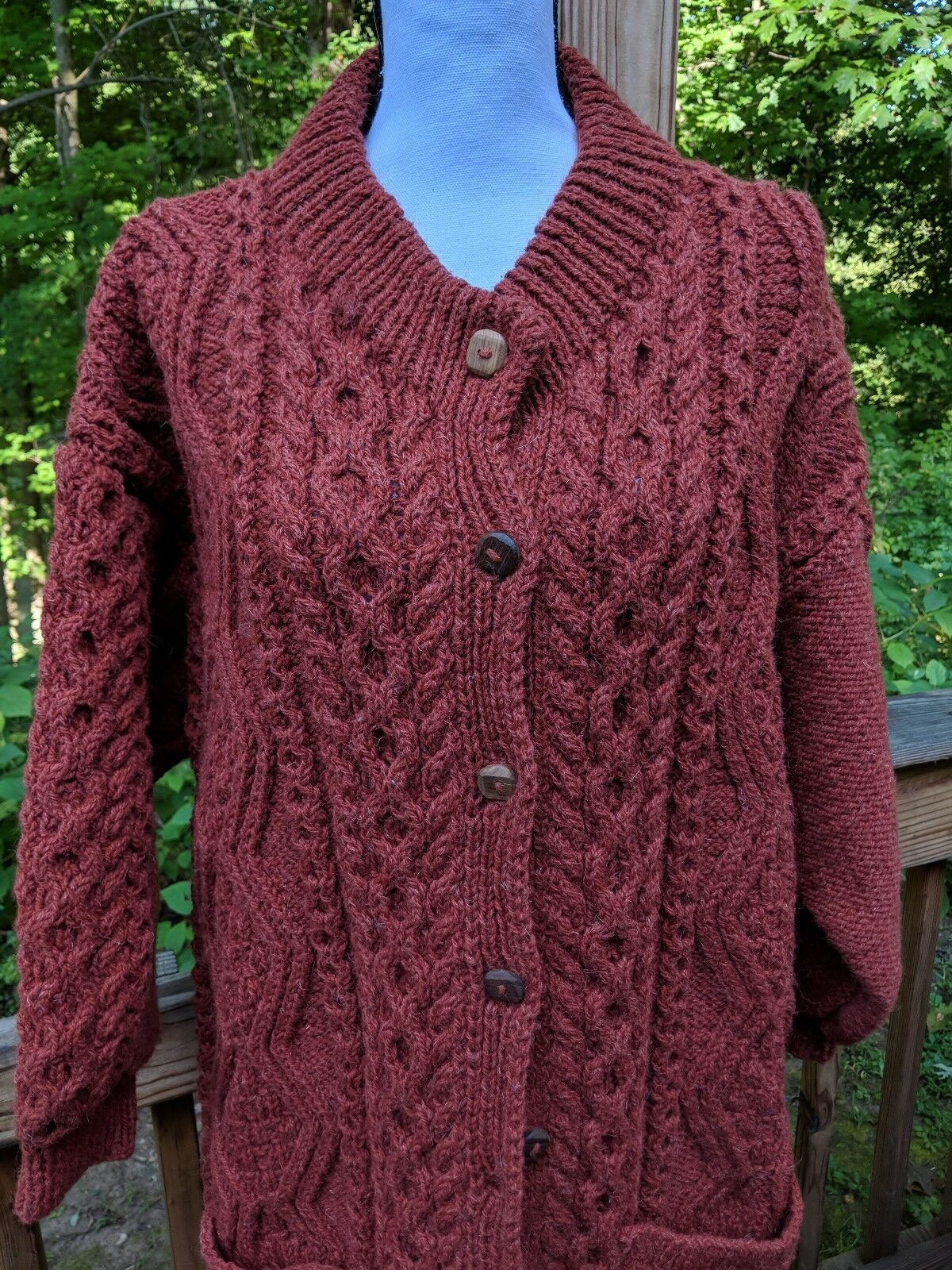 Vtg Cleo Originals Long Pure Pure Pure Wool Chunky Handknit Sweater Rusty Brown Ireland 678b62