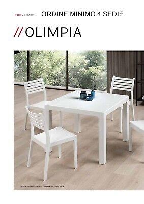 4 Sedie, Bianco Sedia Volga Stile Moderno Elegante Robusta in Polipropilene impilabile Interni ed Esterni