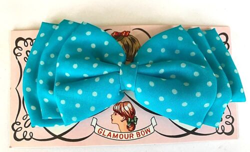 1960/'s Large Fabric Turquoise Polka Dot Glamour Bow Vintage Hair Barrettes