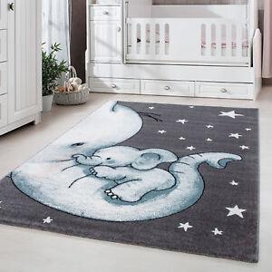 Détails sur Tapis enfant chambre d\'enfant chambre de bébé éléphant gris  bleu Weis Oeko Tex