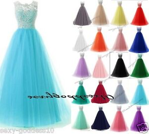 New-Long-Lace-Tulle-Women-039-s-Party-Evening-Prom-Bridesmaid-Formal-Dress-Size-6-22