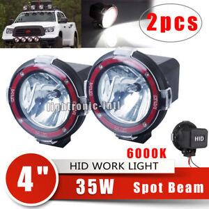 2 x 4 inch 35w round hid xenon lights spot beam off road atv tractor