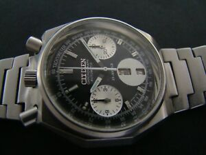 703c18848a7a0 La imagen se está cargando Reloj-Cronografo-cuadrado-raro-CITIZEN-BULLHEAD- 8110-Negro-