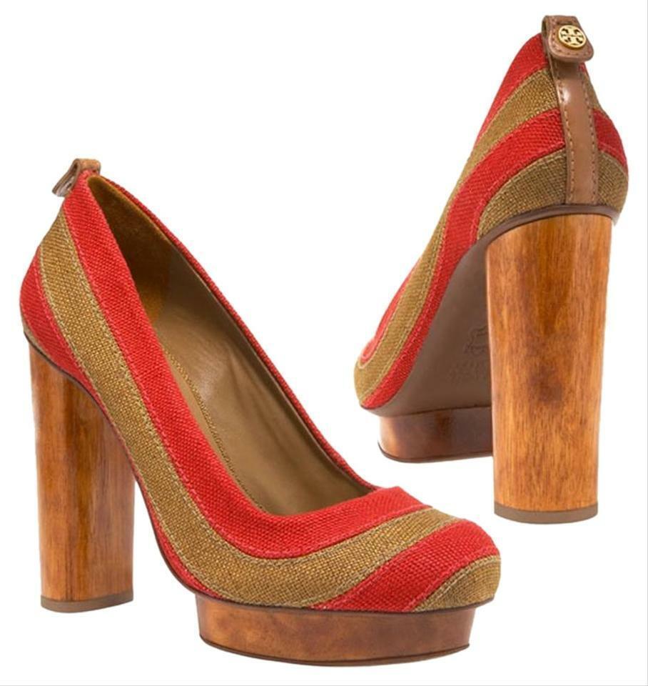clienti prima reputazione prima TORY BURCH Joelle Linen Platform Heels Sz 8.5 rosso tan tan tan striped NWOB  350  vendita economica