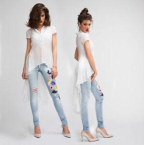 60% Rabatt Outlet Store Verkauf baby Details zu By Alina Damenbluse Transparent Vokuhila Bluse Hemd Longshirt  Tunika XS-M