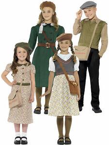 1940s WW2 School Child Girl Boys Wartime Costume Kids Fancy Dress Book World War