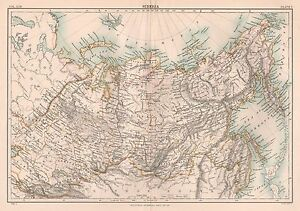 1898 ANTIQUE MAP BRITANNICA SIBERIA