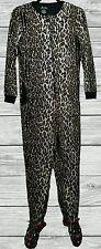NICK & NORA Pajama Fleece Leopard Cat Kitty Print Footed footie Sleeper Pjs S