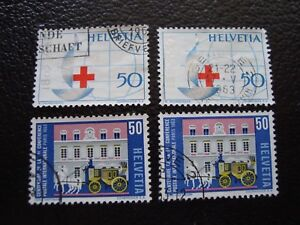 suiza-sello-yvert-y-tellier-n-709-710-x2-matasellados-A4-stamp-Suiza