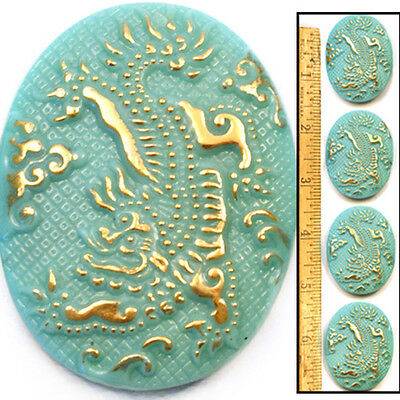 XL 42mm Vintage Czech Glass 3-D Turquoise Blue + Gold Oval DRAGON Buttons 4pc
