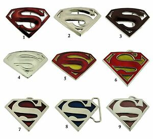 Superman Belt Buckle Comics USA American Superhero Silver Metal Mens Western TX