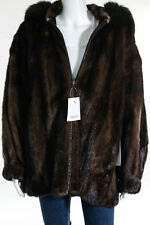 Birger Christensen Saks Fifth Ave Brown Mink Fur Leather Reversible Coat Size 42