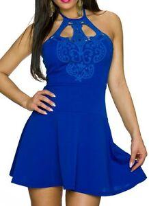 SeXy-Miss-Damen-Neckholder-Spitze-Mini-Kleid-Party-Dress-32-34-36-blau-NEU-Top