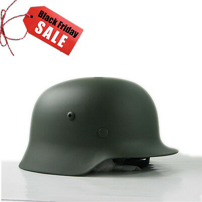 Green Collectable WW2 German M35 Steel Motorcycle Helmet Army Field Helmets