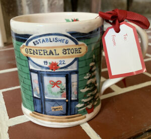 Sur-La-Table-Holiday-General-Store-Mug-Christmas-Poinsettias-With-Gift-Tag