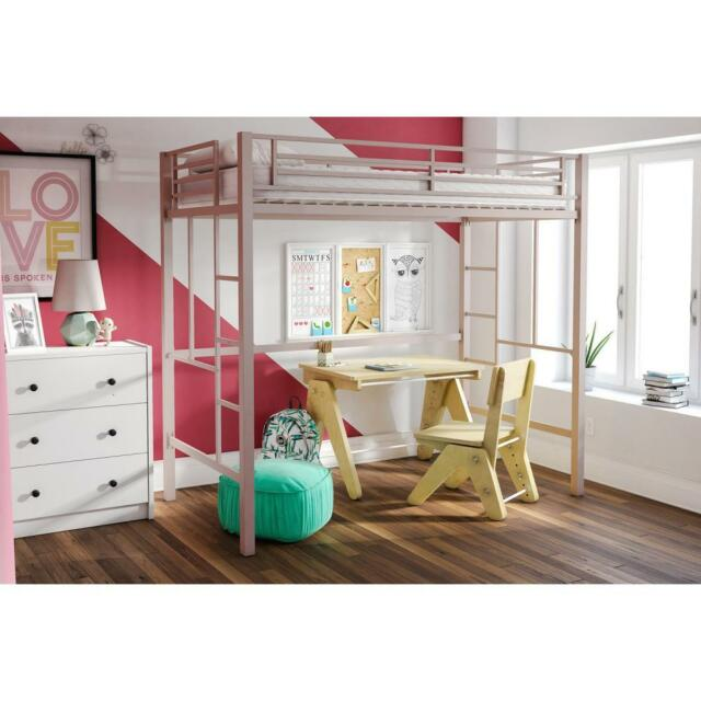 Twin Loft Bed Metal Bunk Frame Ladder Teens Kids Girls Bedroom Furniture  Dorm