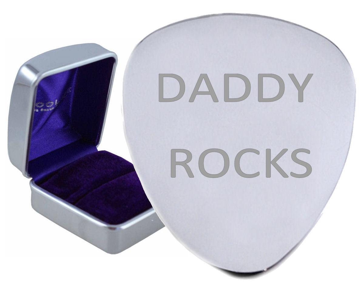 Daddy Rocks Stahl Gitarre Plektrum Graviertes - Optional Text auf Box