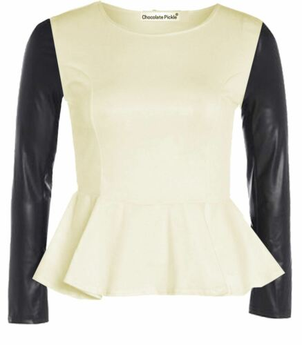 New Womens Plus Size Long PVC Wetlook Long Sleeve Pu Peplum Skater Tops 16-26