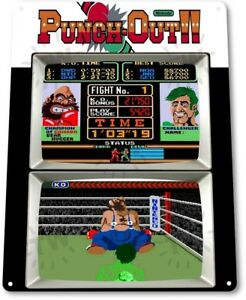 Punch-Out-Classic-Boxing-Arcade-Marquee-Game-Room-Wall-Art-Decor-Metal-Tin-Sign
