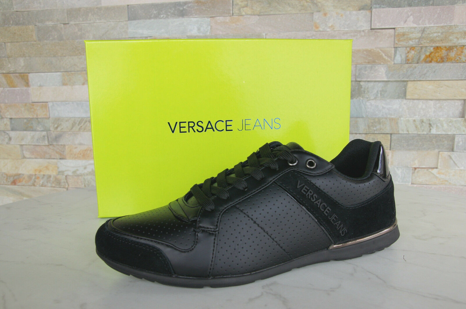 Versace Jeans Size 42 Sneakers Lace up shoes Black New Previously
