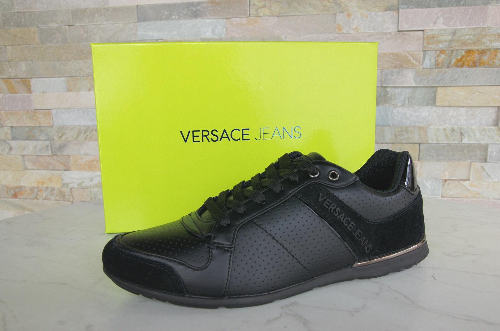 Versace Jeans 40 Gr scarpe da ginnastica Scarpe con Lacci Scarpe Nere Nuovo Origin.