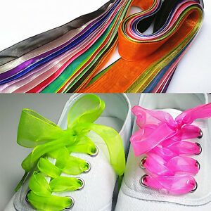 33449071a00 Candy Color Wide Flat Shoelaces Voile Ribbon Shoe Laces for Sneaker ...