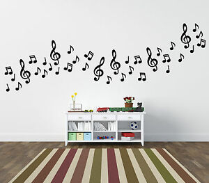 Musical notes wall stickers 54 pack home car ebay - Music note wallpaper for walls ...