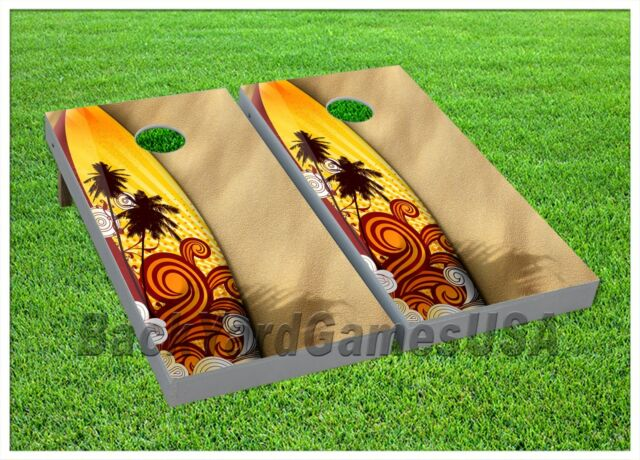 Paradise Beach Margarita Cornhole Boards BEANBAG TOSS GAME w Bags Island Set 267